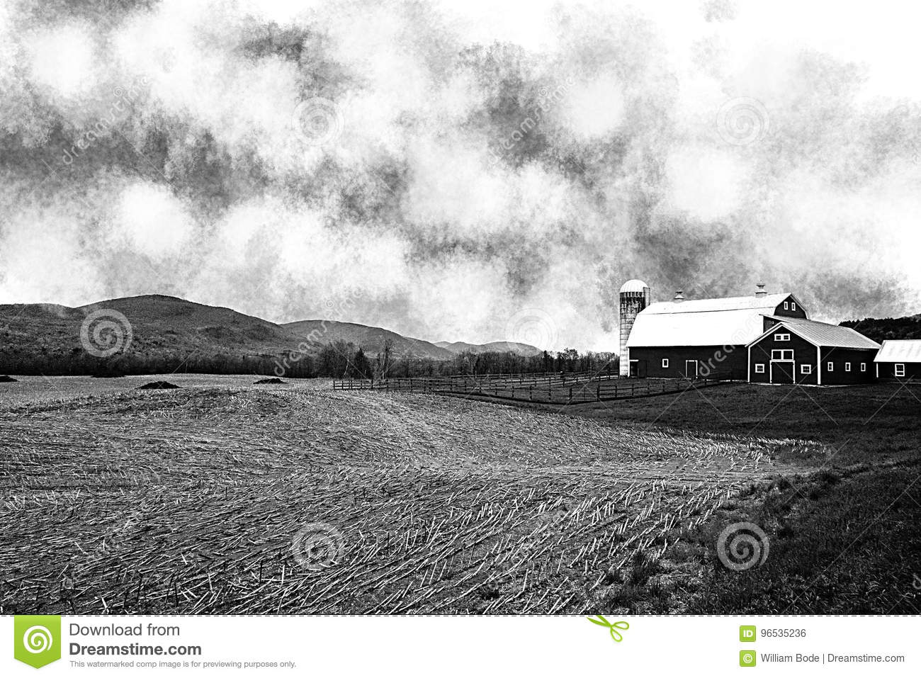 A black and white image of a vermont farm with a cut field of corn in the foreground and rolling hills in the background