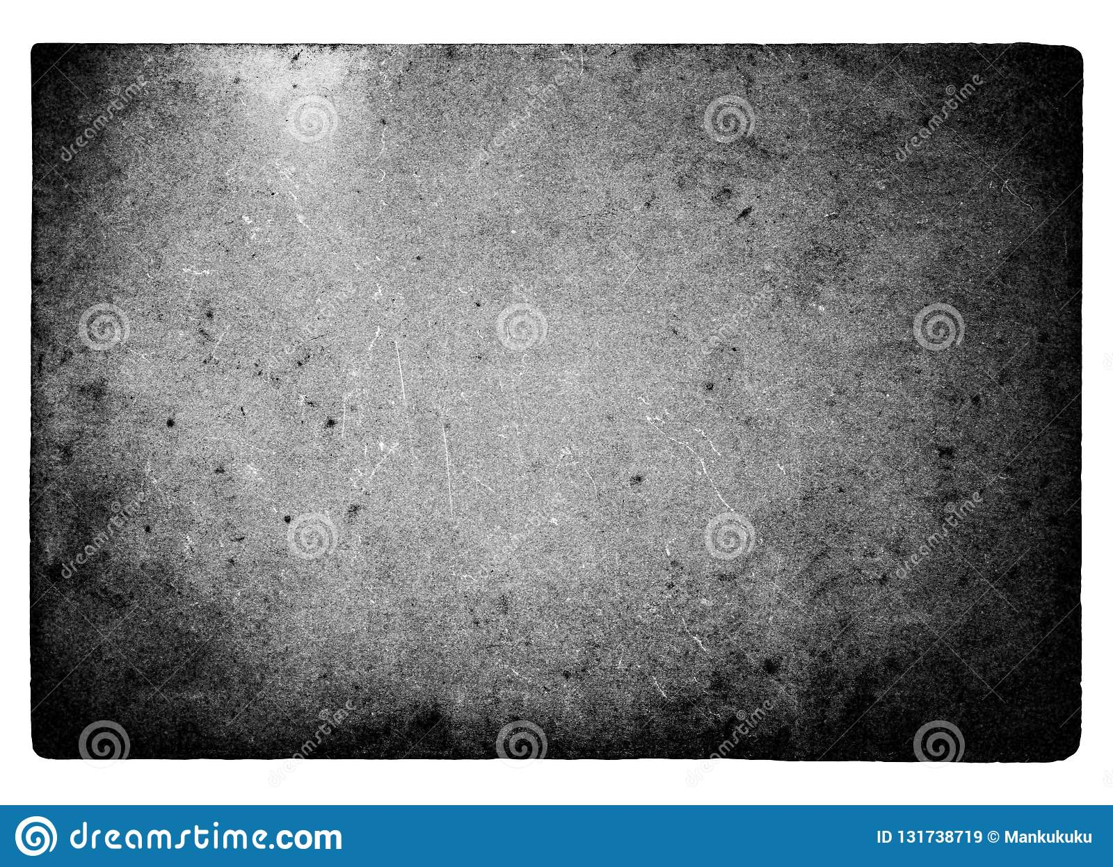 Black and white film frame with light leaks and grain isolated on white background.