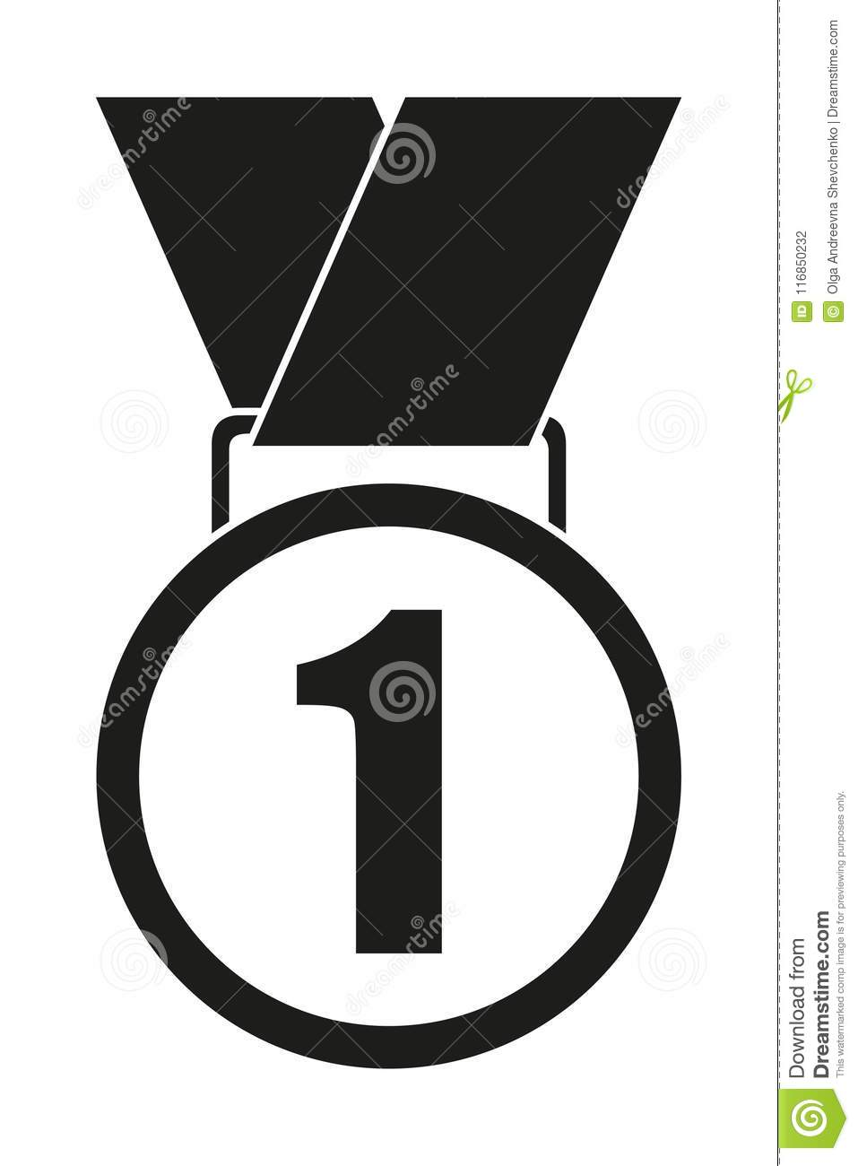 black and white first place medal silhouette stock vector