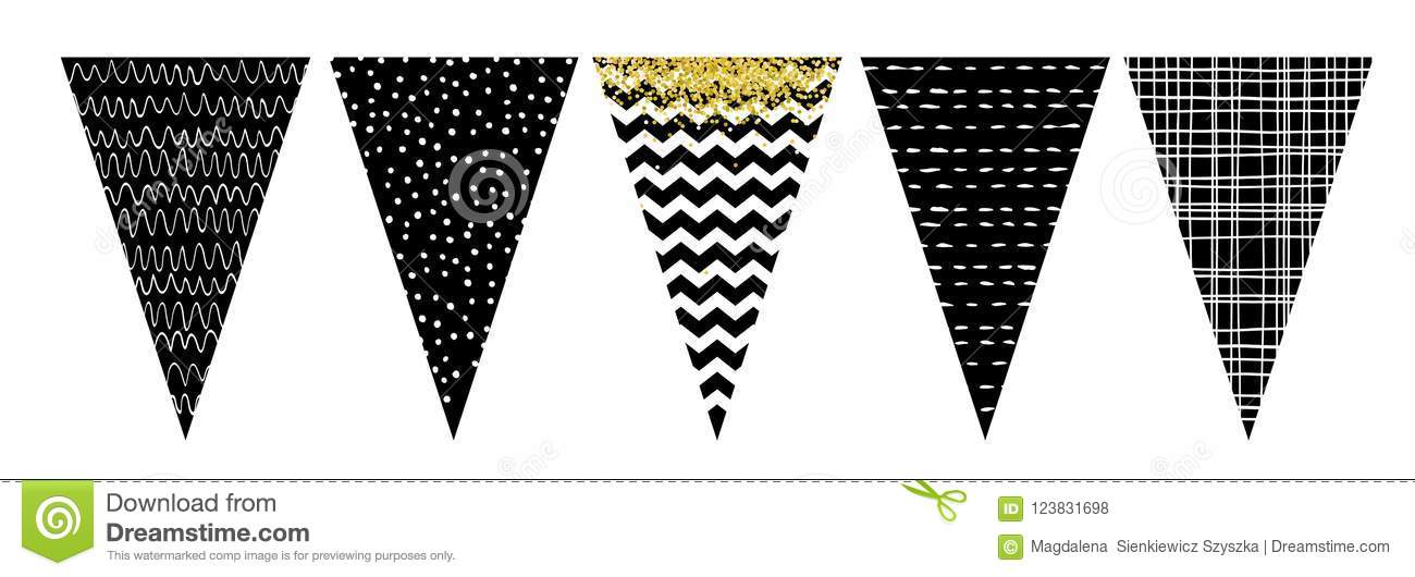 black and white flag banner set  party decoration  do it yourself  stock vector