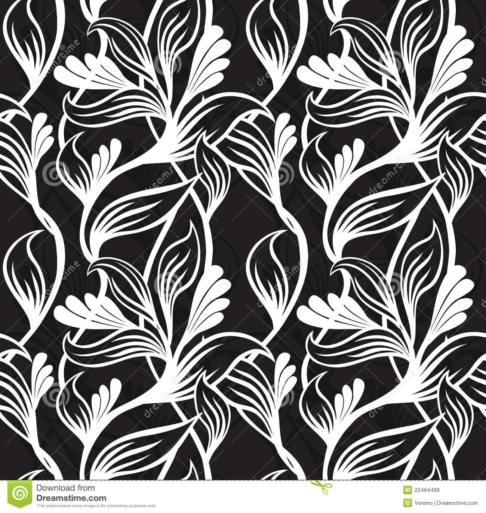 Black Flower On White Background Royalty Free Stock: Black And White Floral Background Stock Vector