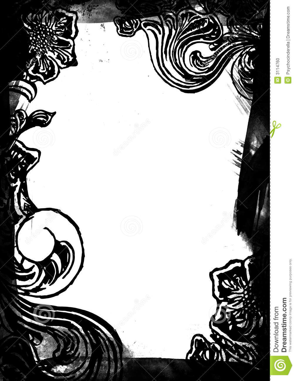 Black And White Floral Border