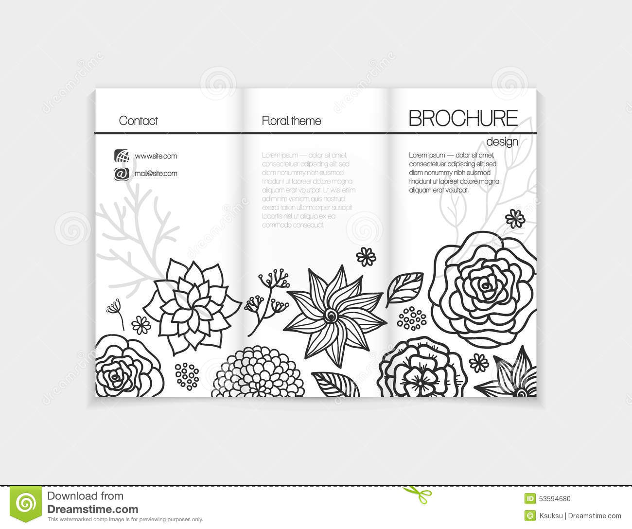 black brochure template - black and white floral brochure template design stock