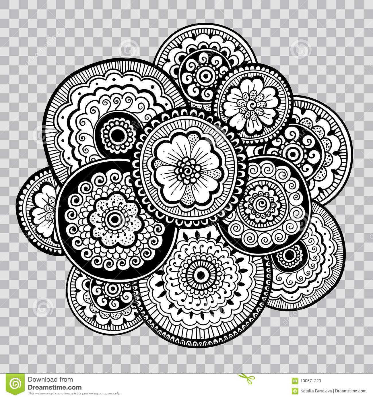 Black And White Floral Coloring On Transparent Background