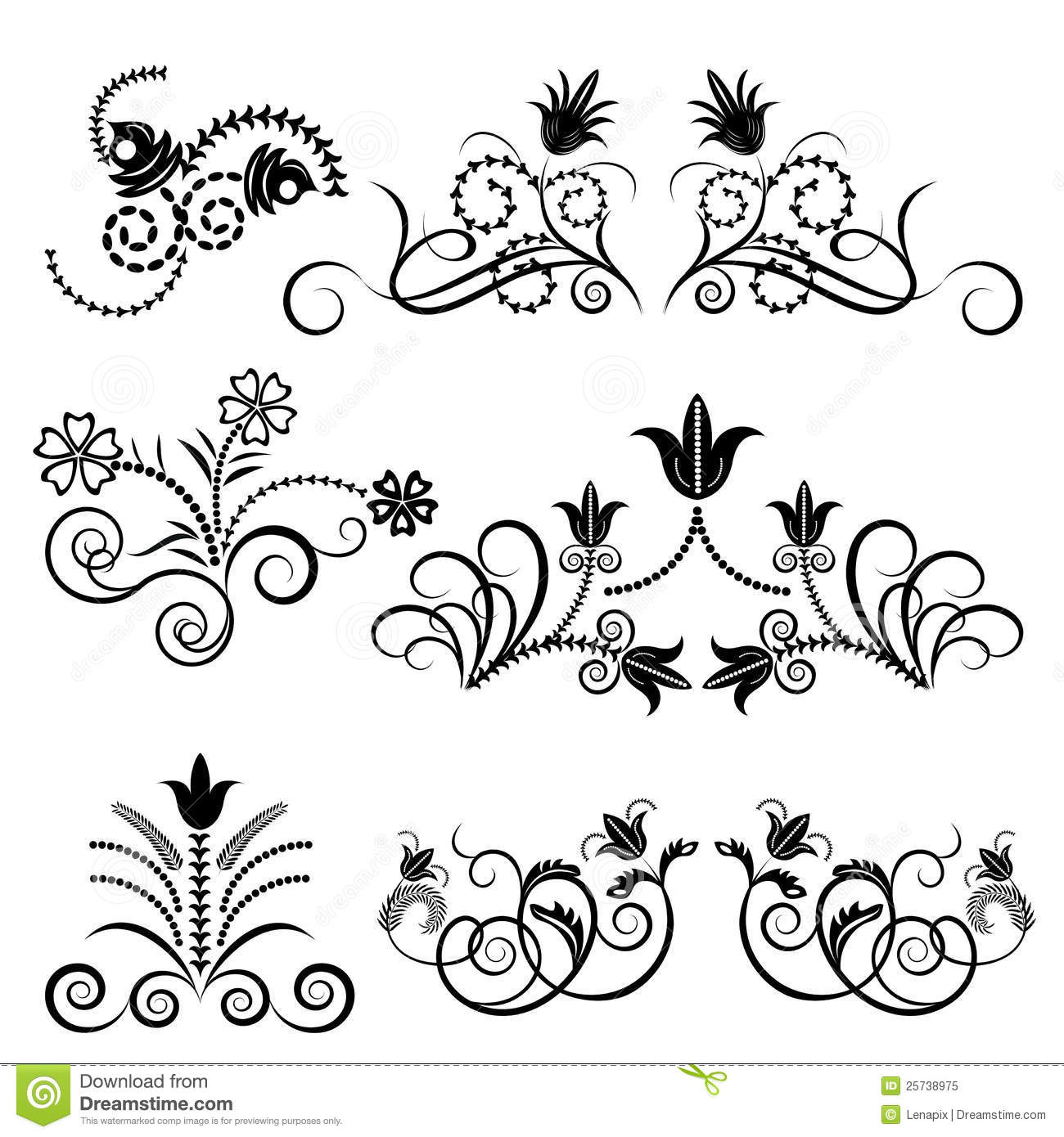 Black And White Floral Design Stock Vector Illustration Of Leaf