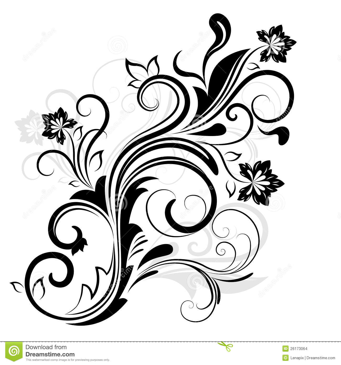 Black And White Floral Design Stock Images Image 26173064