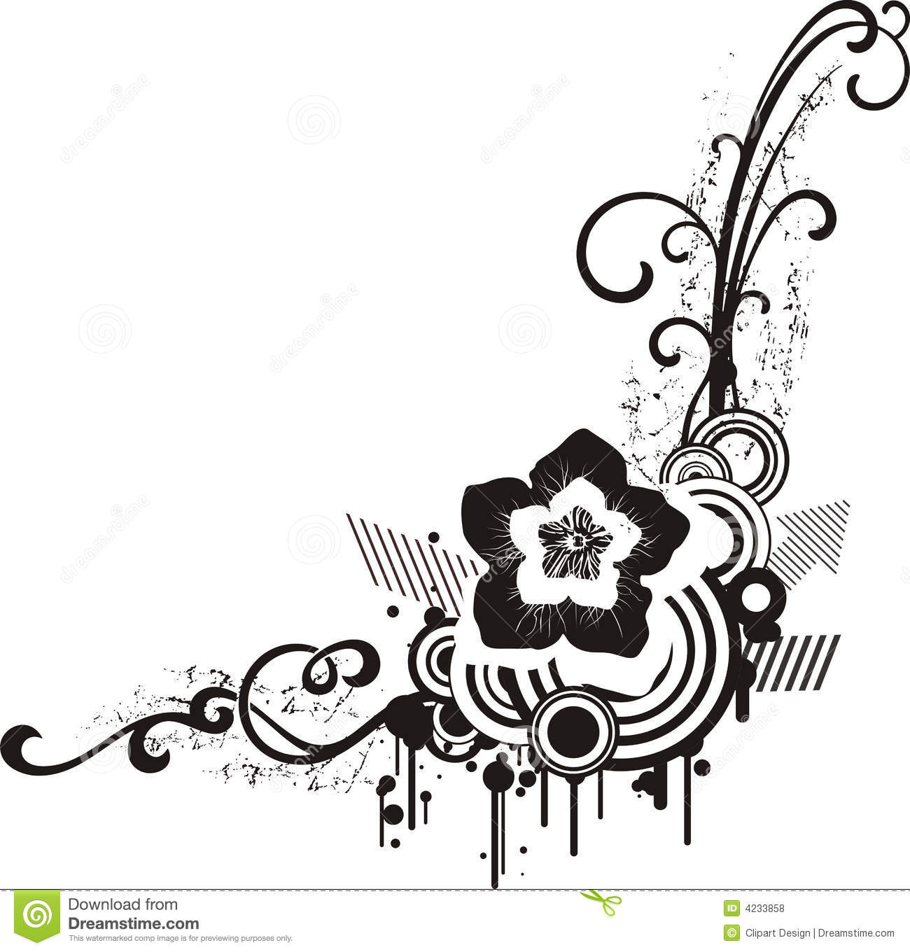 Black U0026 White Floral Designs Stock Vector   Illustration Of Decorative,  Ornate: 4233858