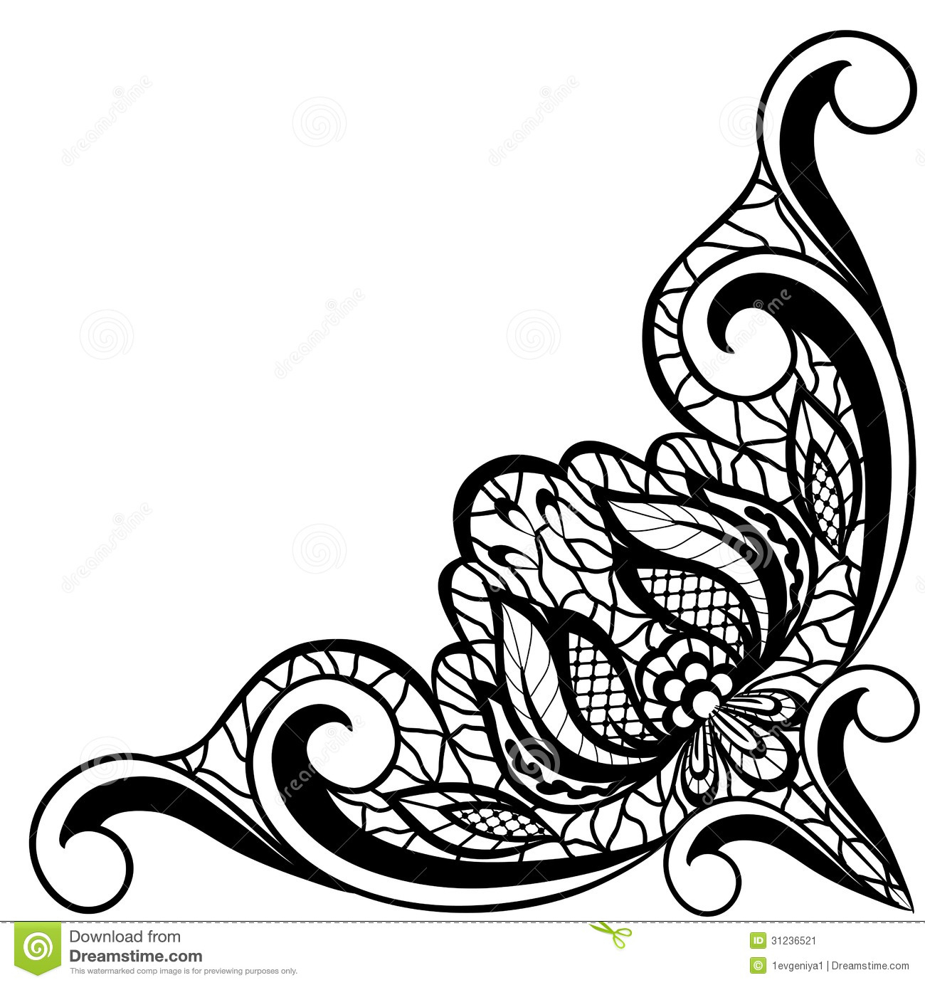 Black And White Floral In Form Of Border Angle Illustration 31236521