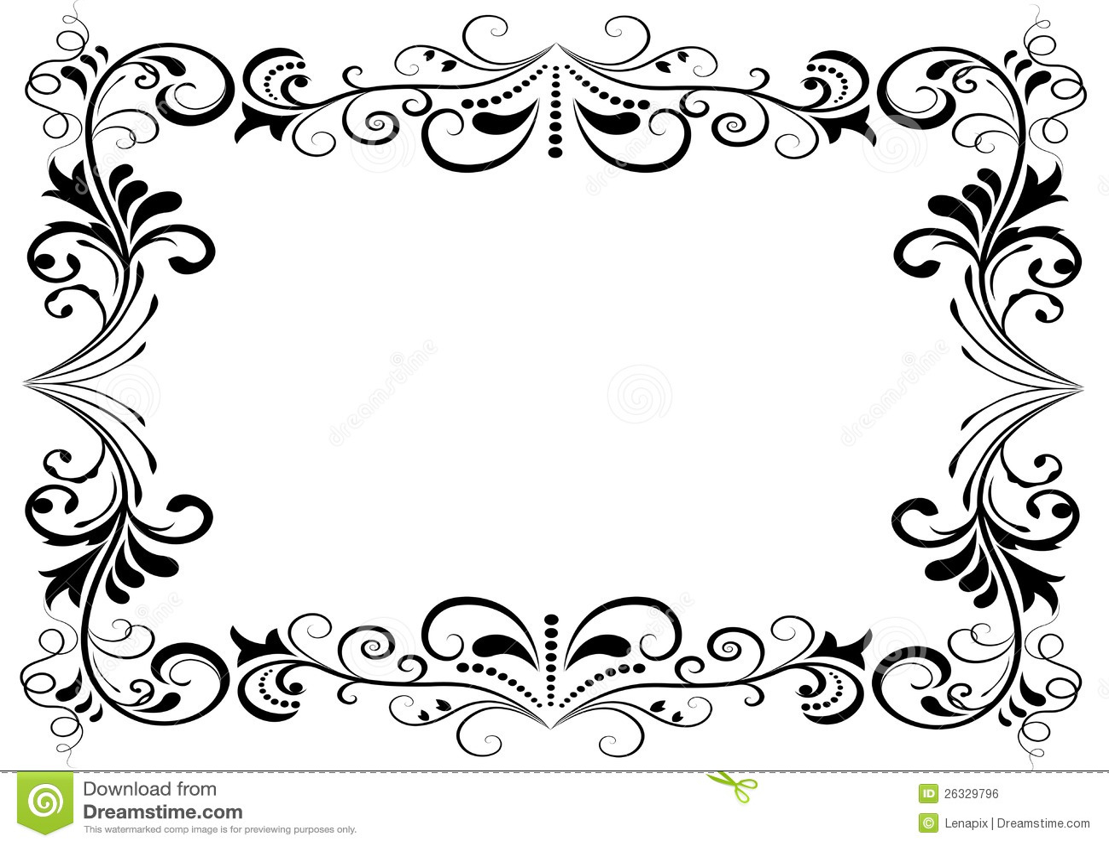 Black And White Floral Frame Stock Vector - Illustration of black ...