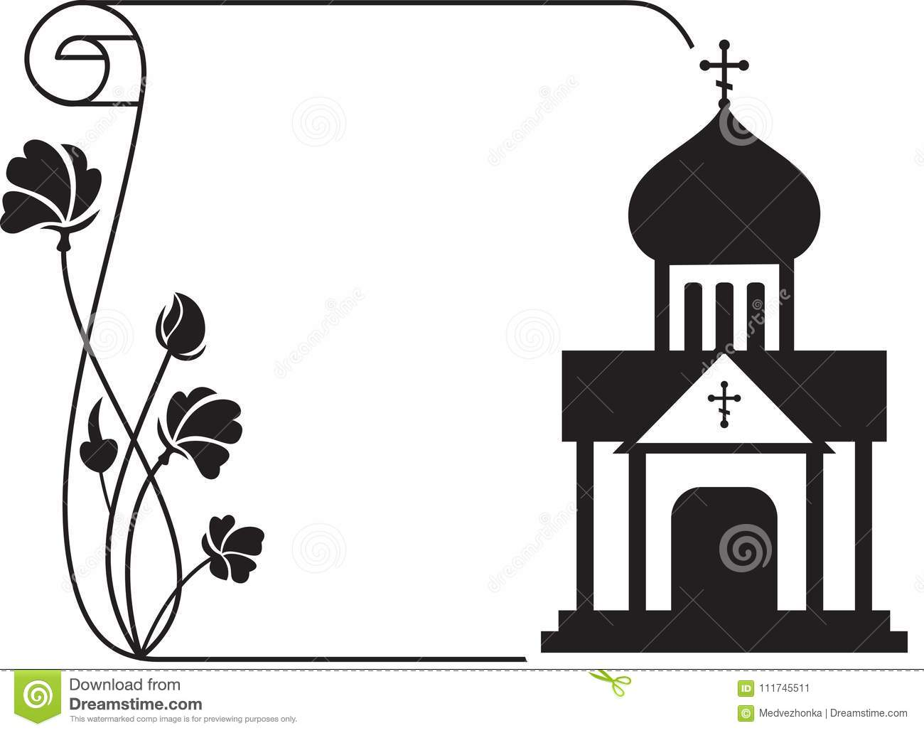 Black and white floral frame with abstract christian temple stock black and white floral frame with abstract christian temple infographics culture kristyandbryce Gallery