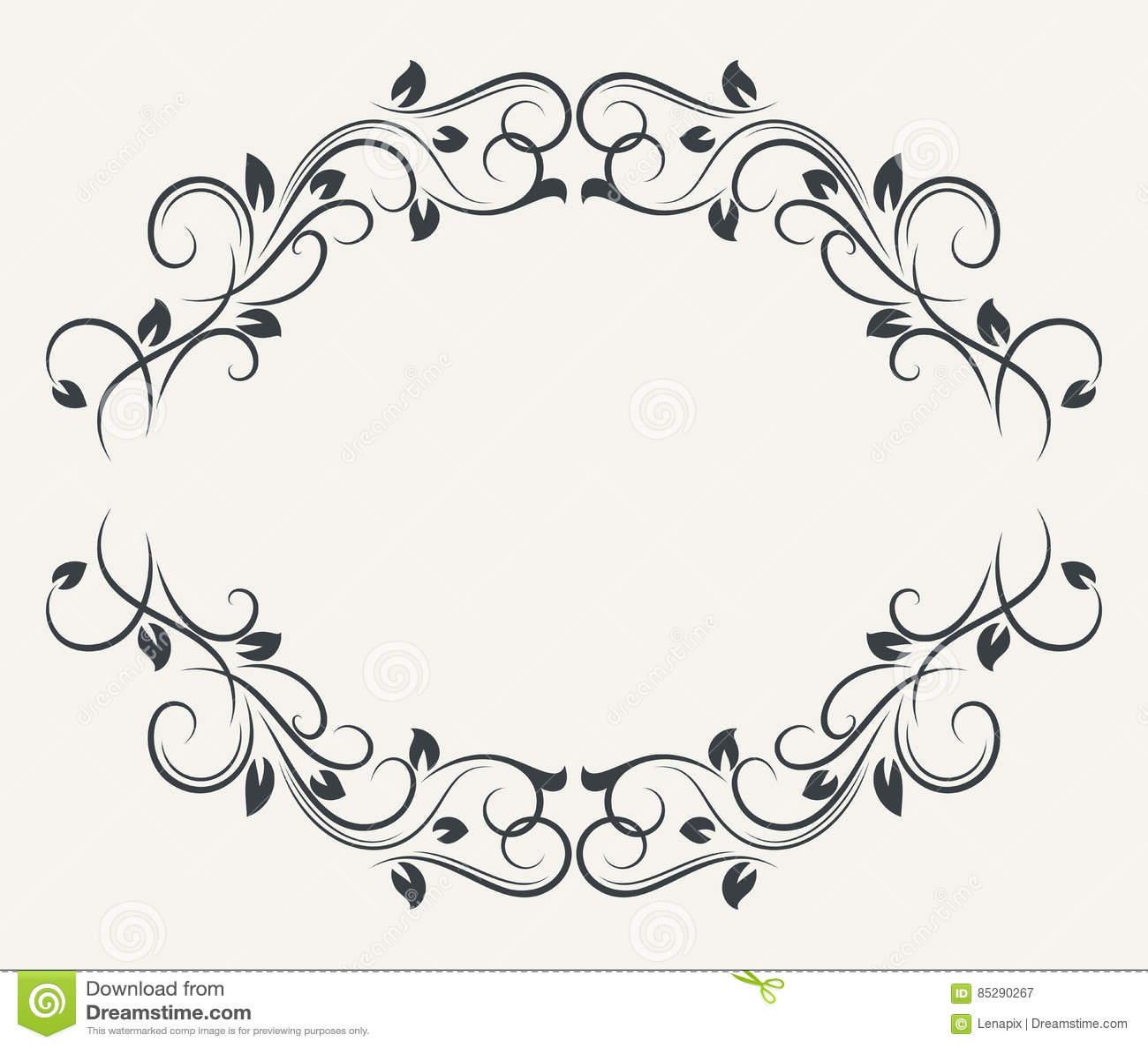 Black And White Floral Frame Stock Vector Illustration