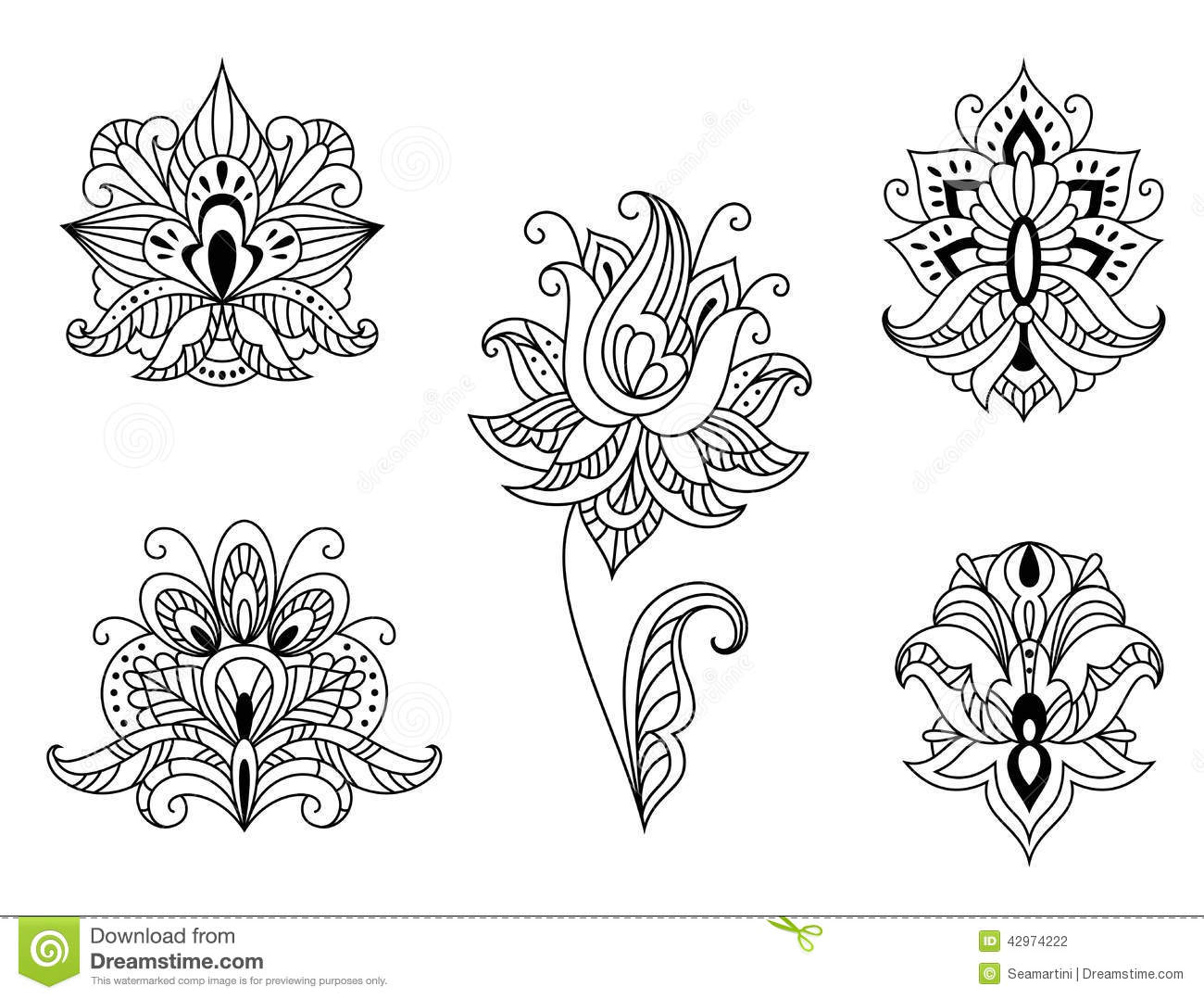 Black And White Floral Motifs Of Persian Paisleys Stock