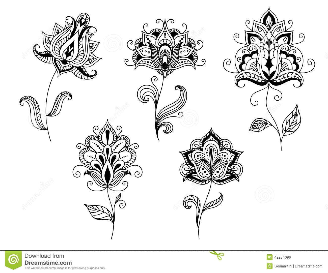 Black And White Floral Motifs In Persian Style Stock