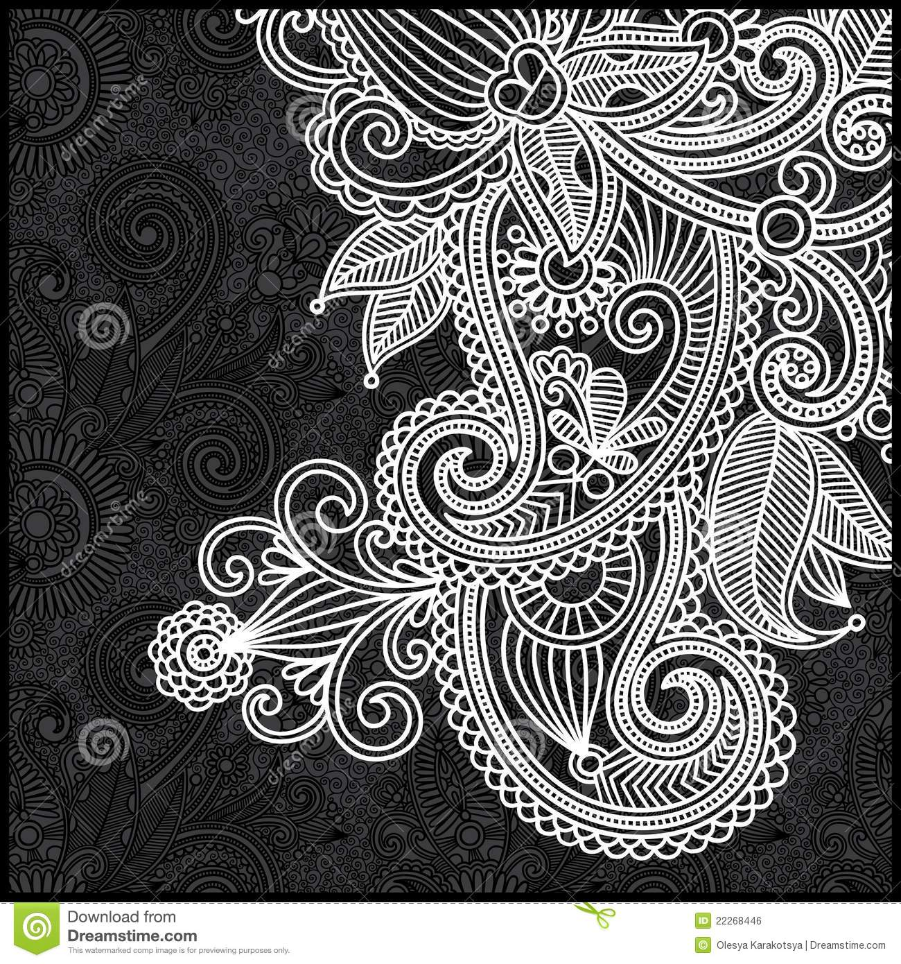 Black Flower And Bud Pattern Royalty Free Stock Photos: Black And White Floral Pattern Stock Vector