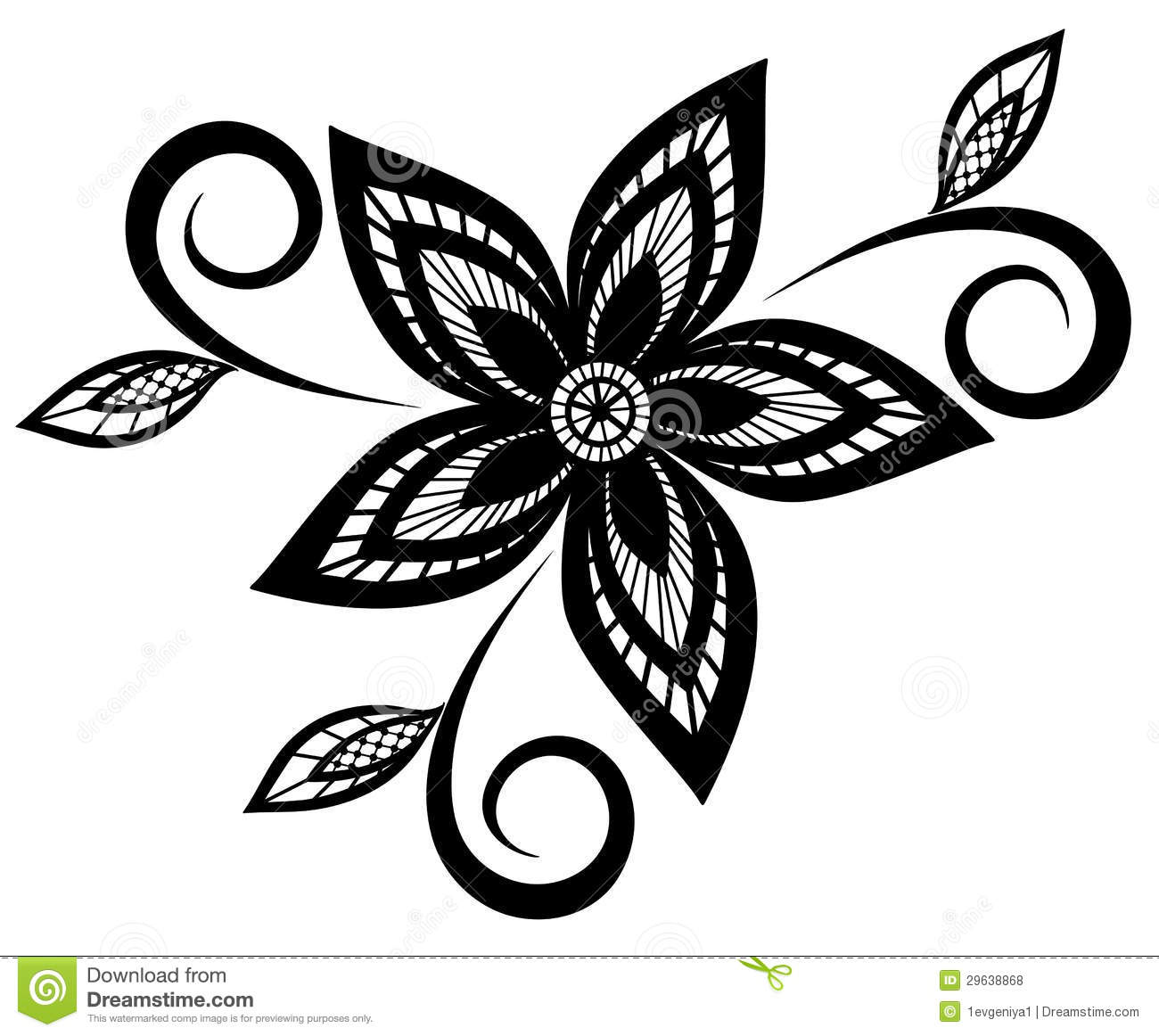 Black Flower And Bud Pattern Royalty Free Stock Photos: Black And White Floral Pattern Design Element. Stock