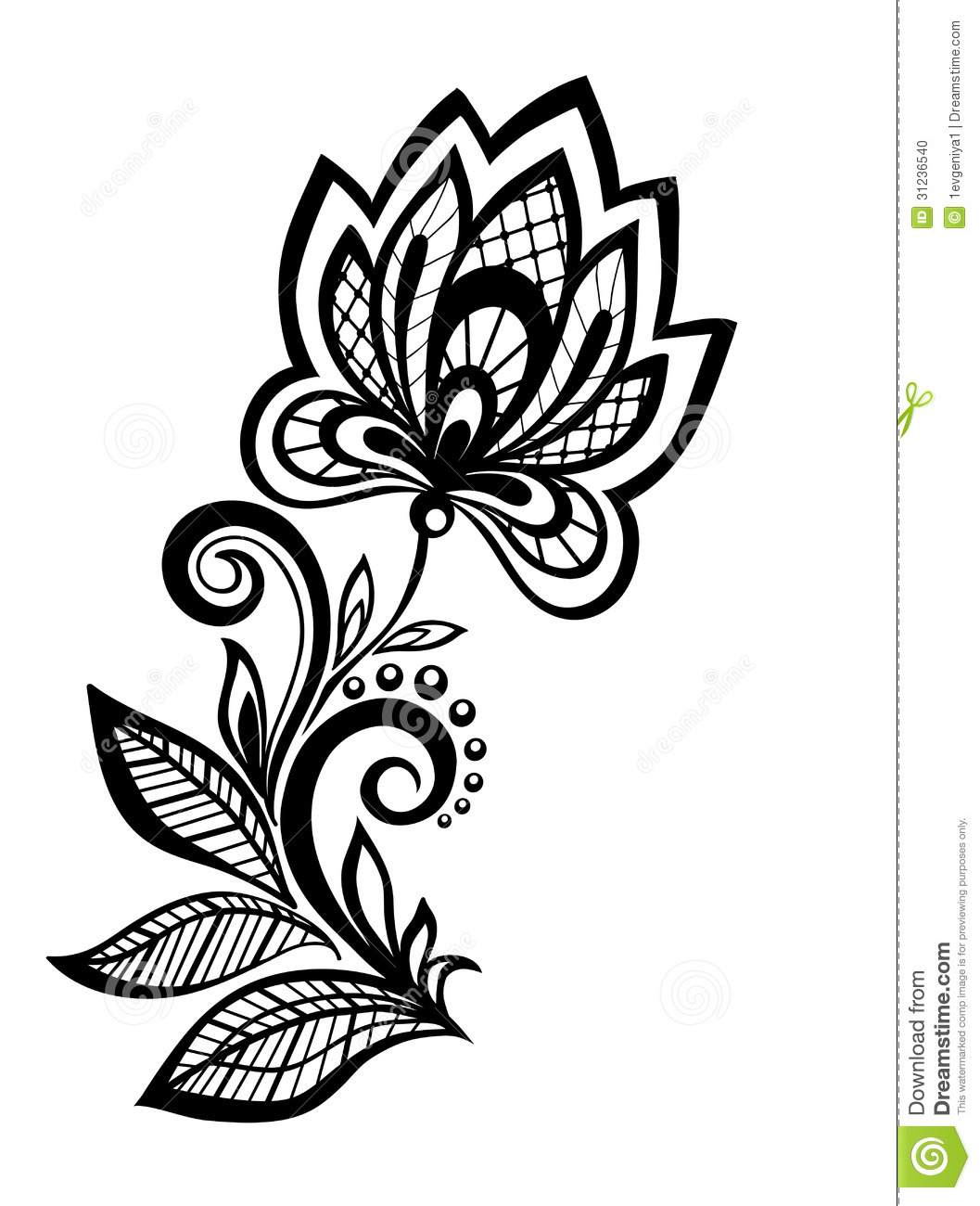 Black And White Floral Pattern Design Element Stock Vector Illustration Of Fashion Image 31236540,Easy Black And White Simple Flower Design