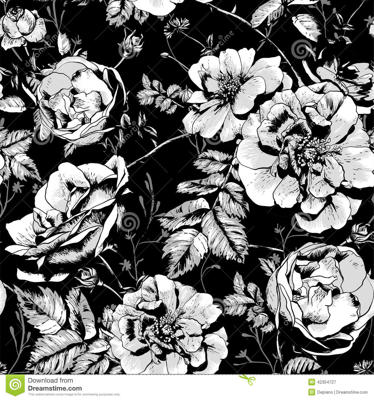 Black And White Floral Seamless Background Stock Vector