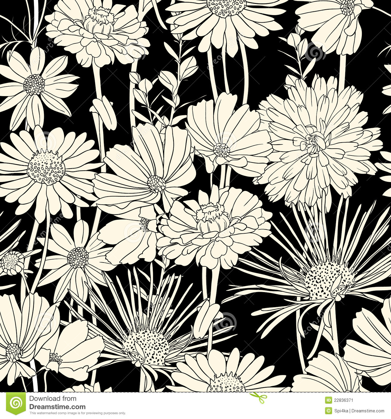 Black And White Flower Template Ukrandiffusion