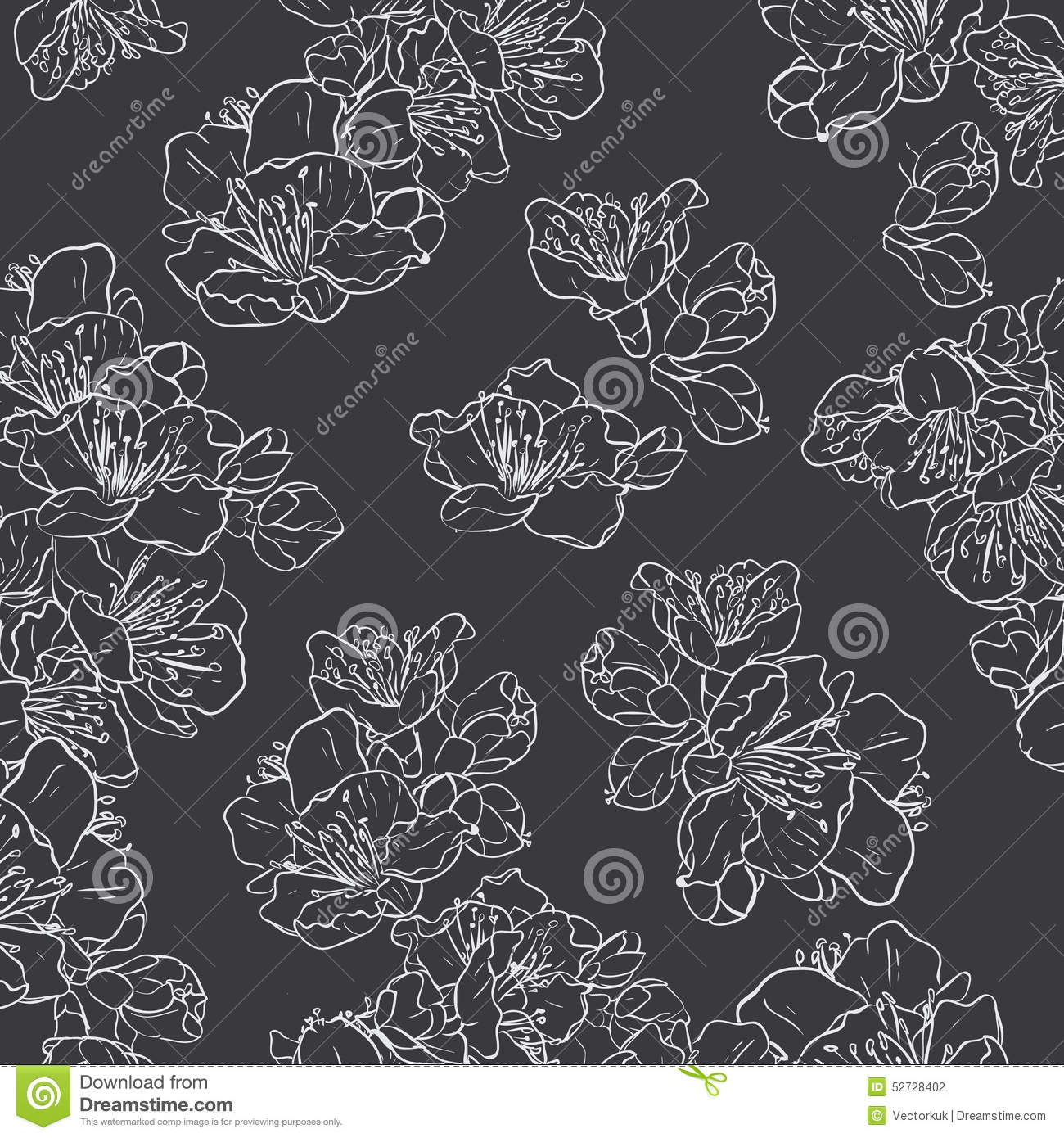 Black And White Floral Seamless Pattern Stock Vector ...