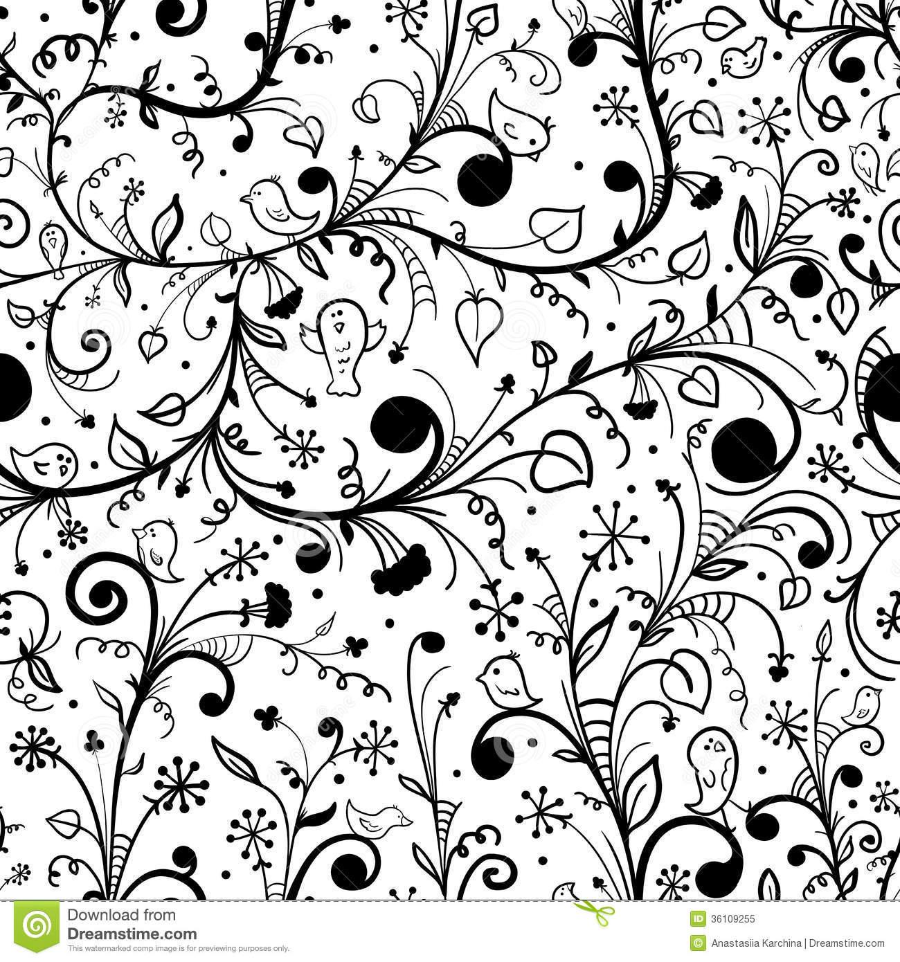 Black white floral seamless pattern stock vector illustration of black white floral seamless pattern mightylinksfo