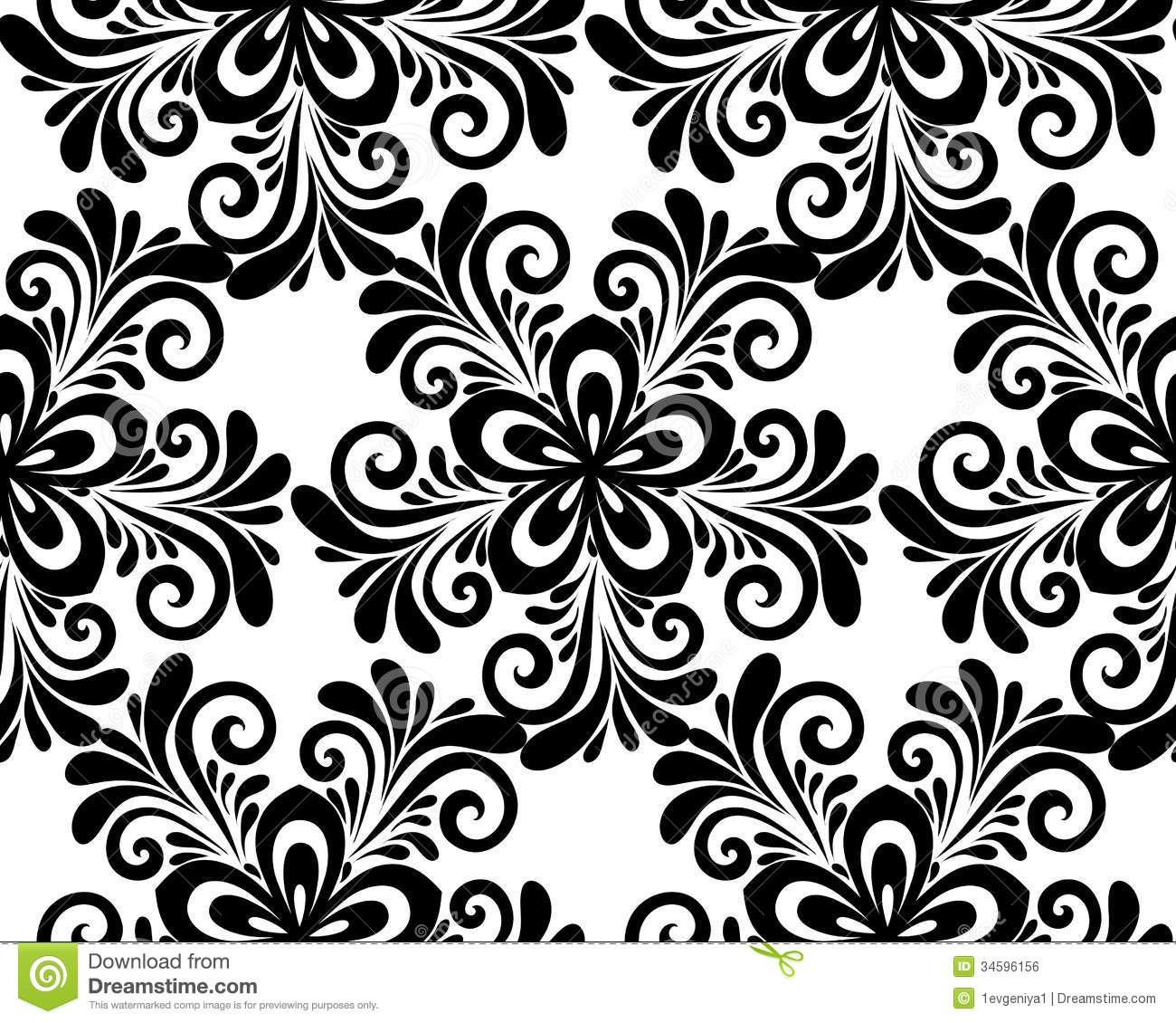 Black And White Floral Seamless Pattern Stock Vector Illustration