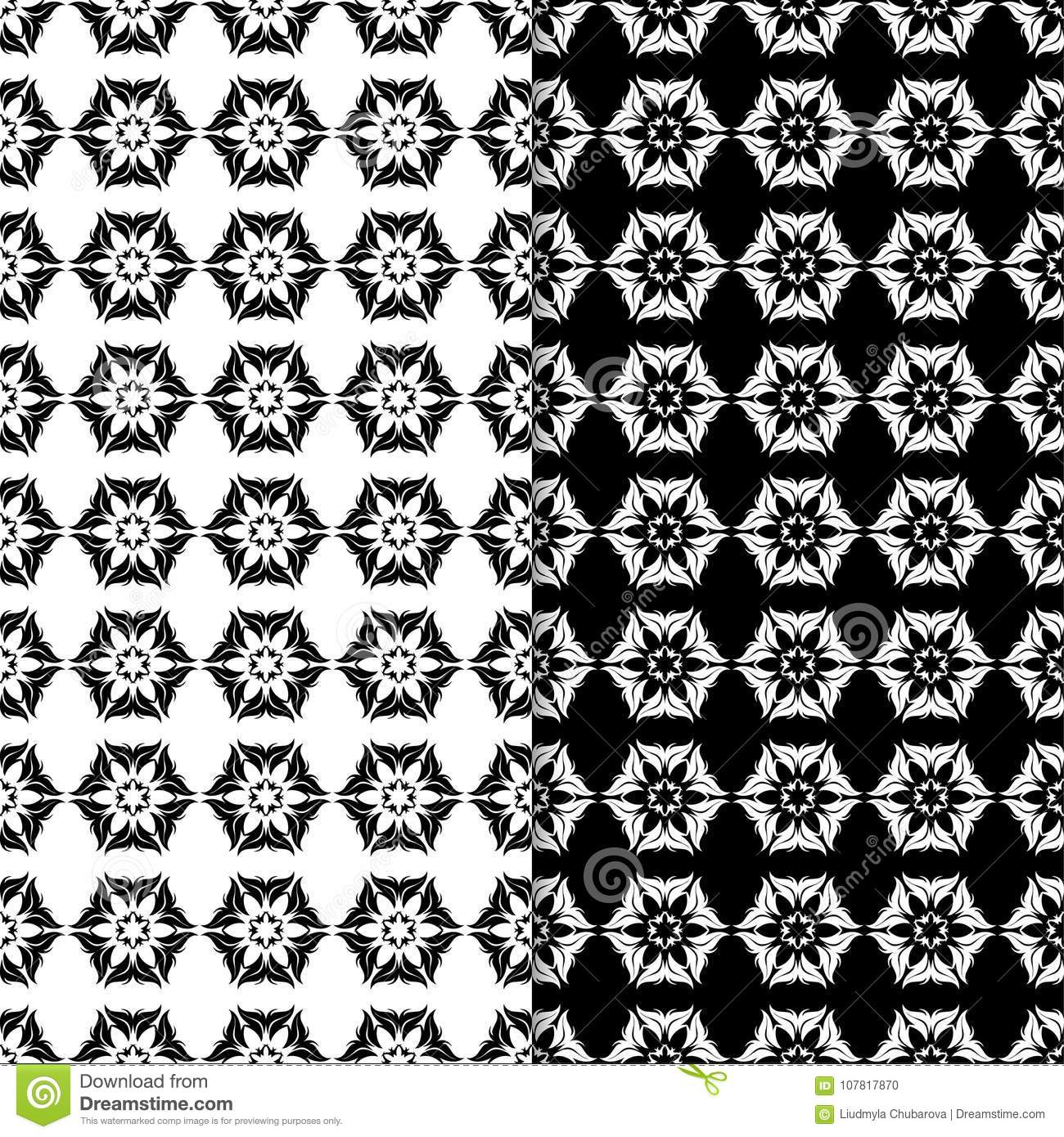Black And White Floral Seamless Patterns Set Of Backgrounds