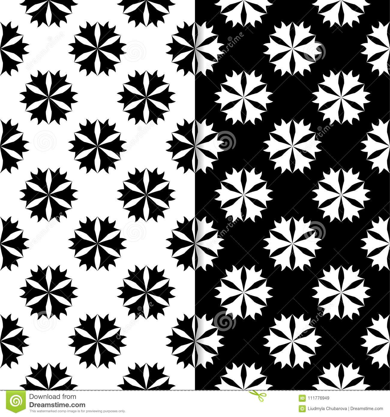 Black and white floral seamless patterns. Set of backgrounds