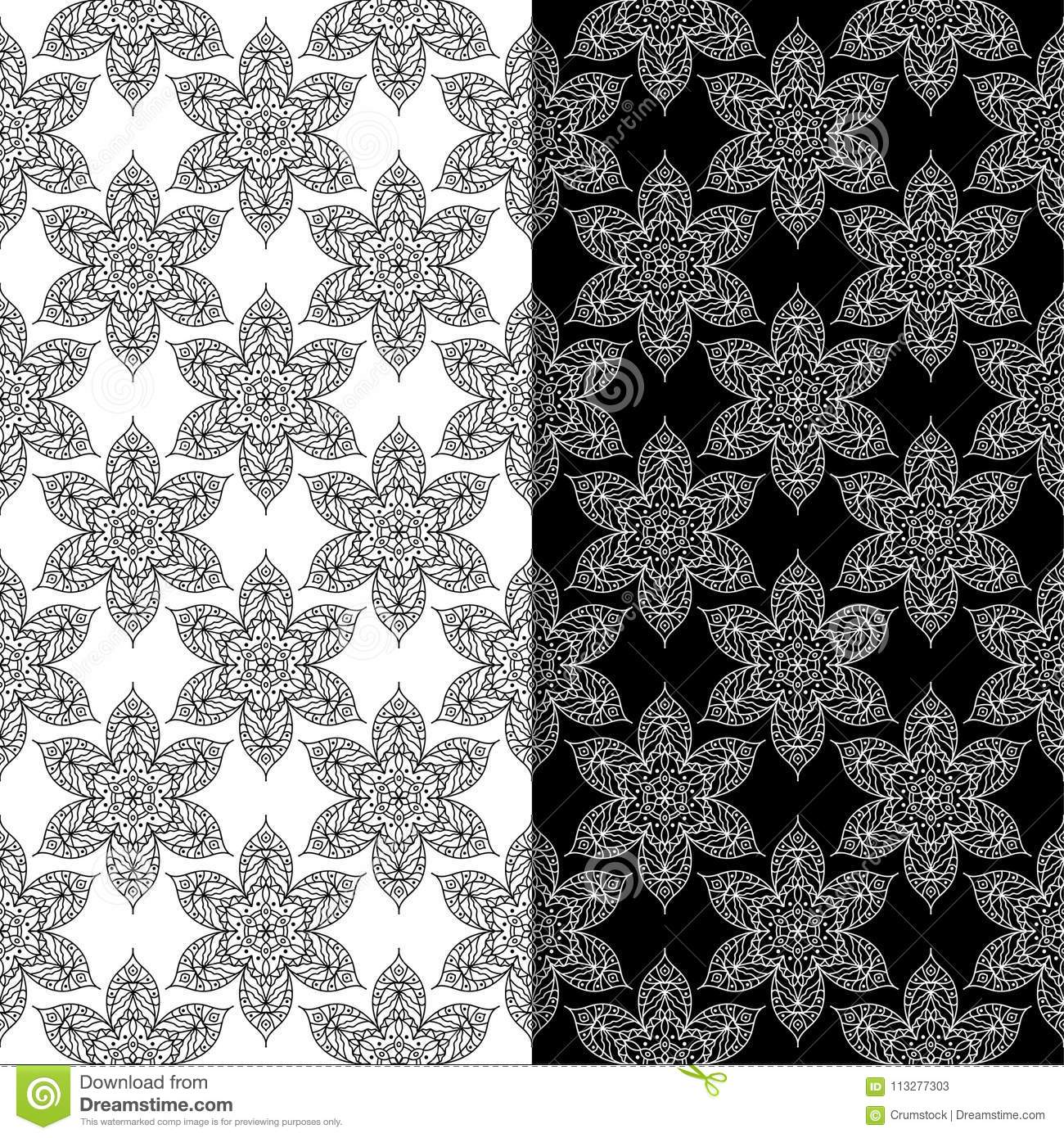 Black and white floral seamless patterns set of backgrounds stock black and white floral backgrounds set of seamless patterns for textile and wallpapers mightylinksfo