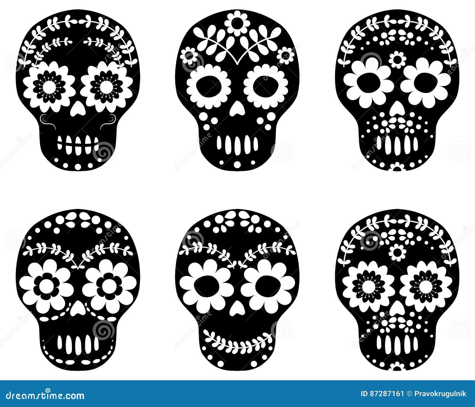 Black And White Floral Sugar Skulls Stock Vector Illustration Of