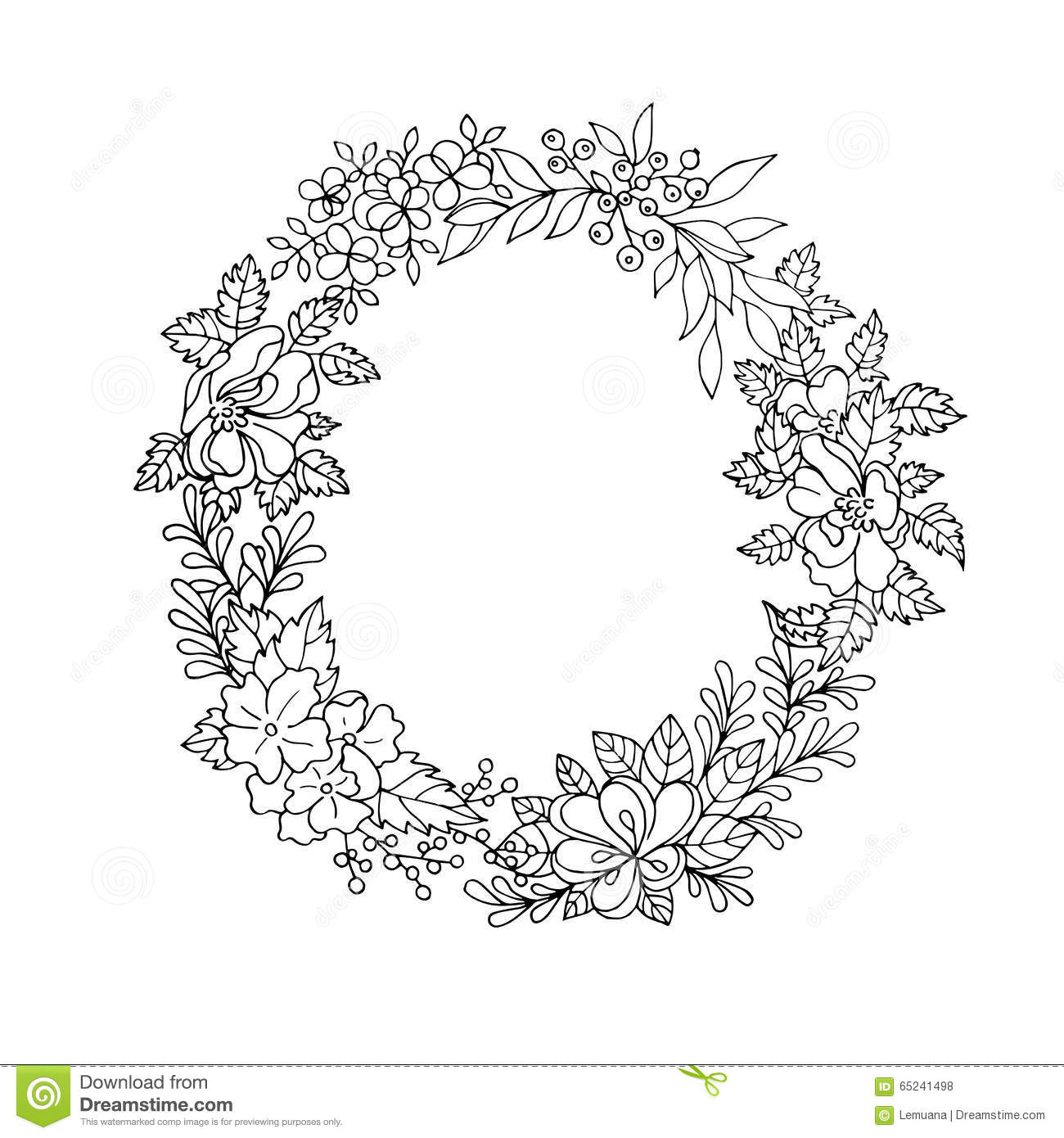 Black and white floral wreath stock vector image 65241515 - Black And White Floral Wreath Royalty Free Stock Photos