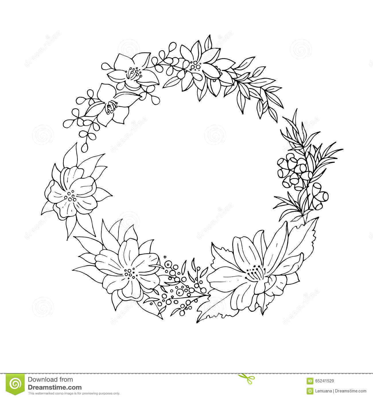 Black and white floral wreath stock vector image 65241515 - Royalty Free Vector Black Floral Flower Vintage White Wreath