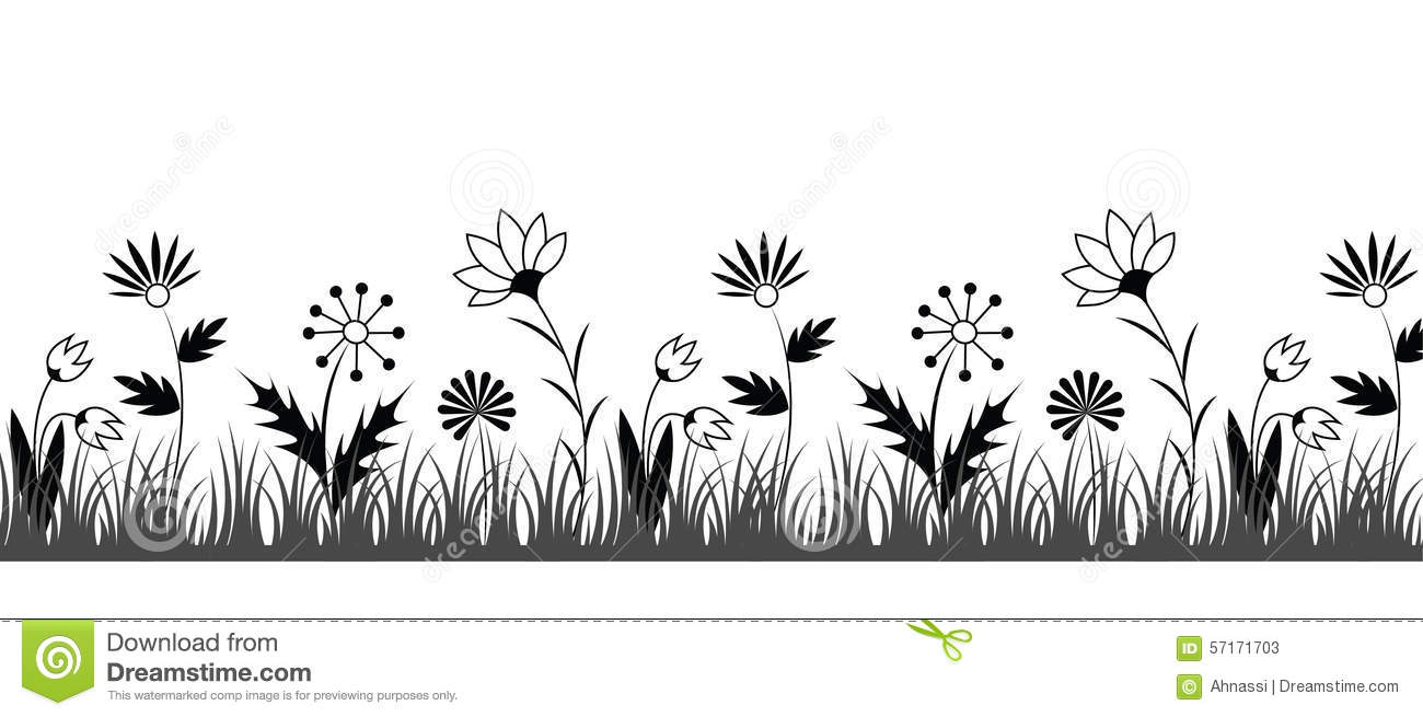 Black And White Flower Border Stock Vector - Illustration ...