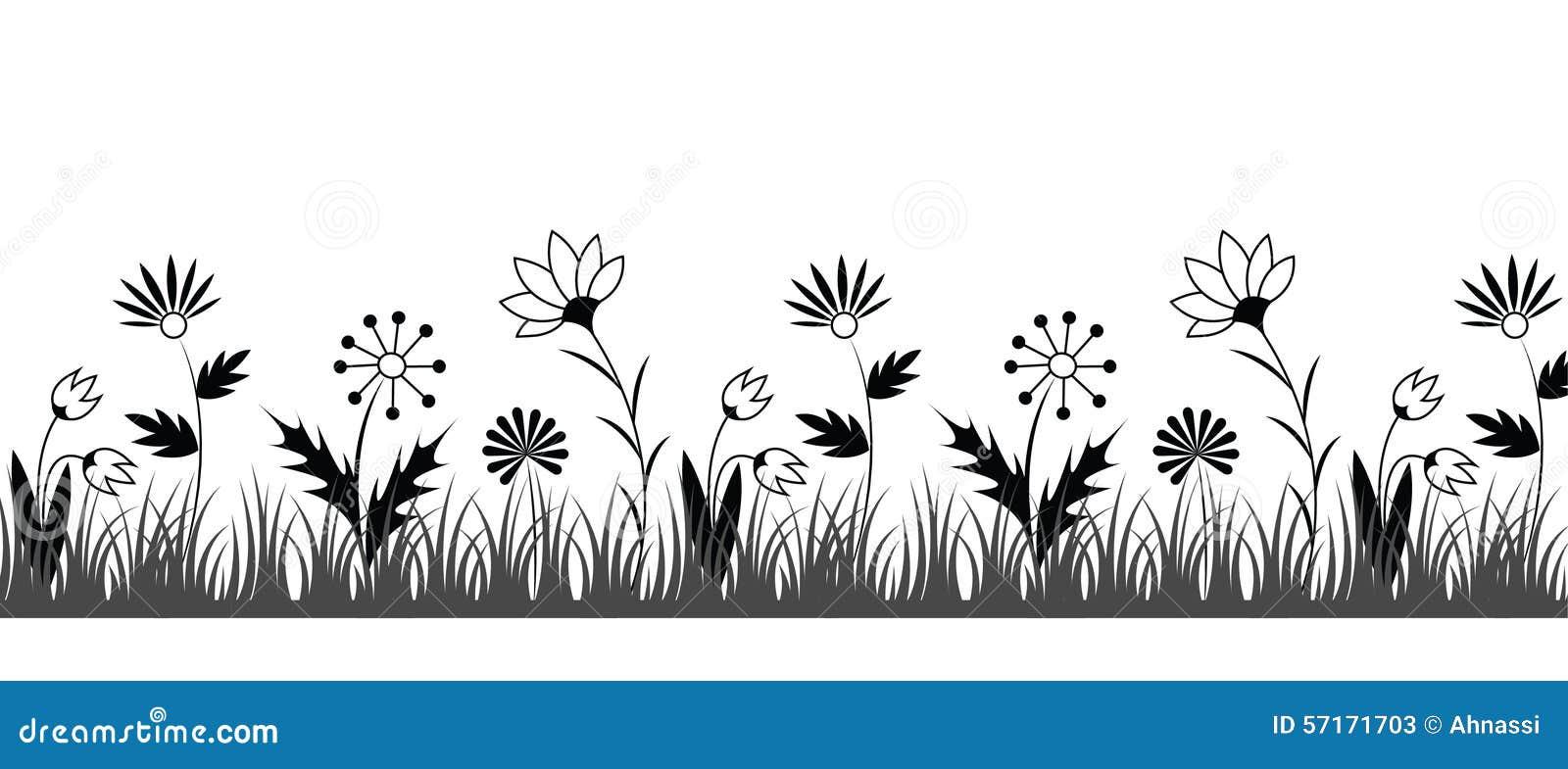 Black and white flower border stock vector illustration of grass black and white flower border mightylinksfo