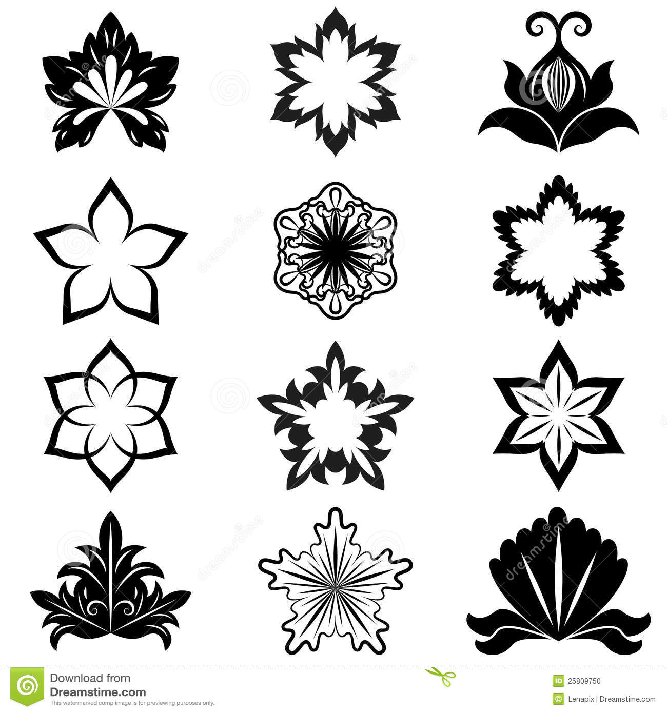 Black And White Flower Design Stock Vector Illustration Of Border