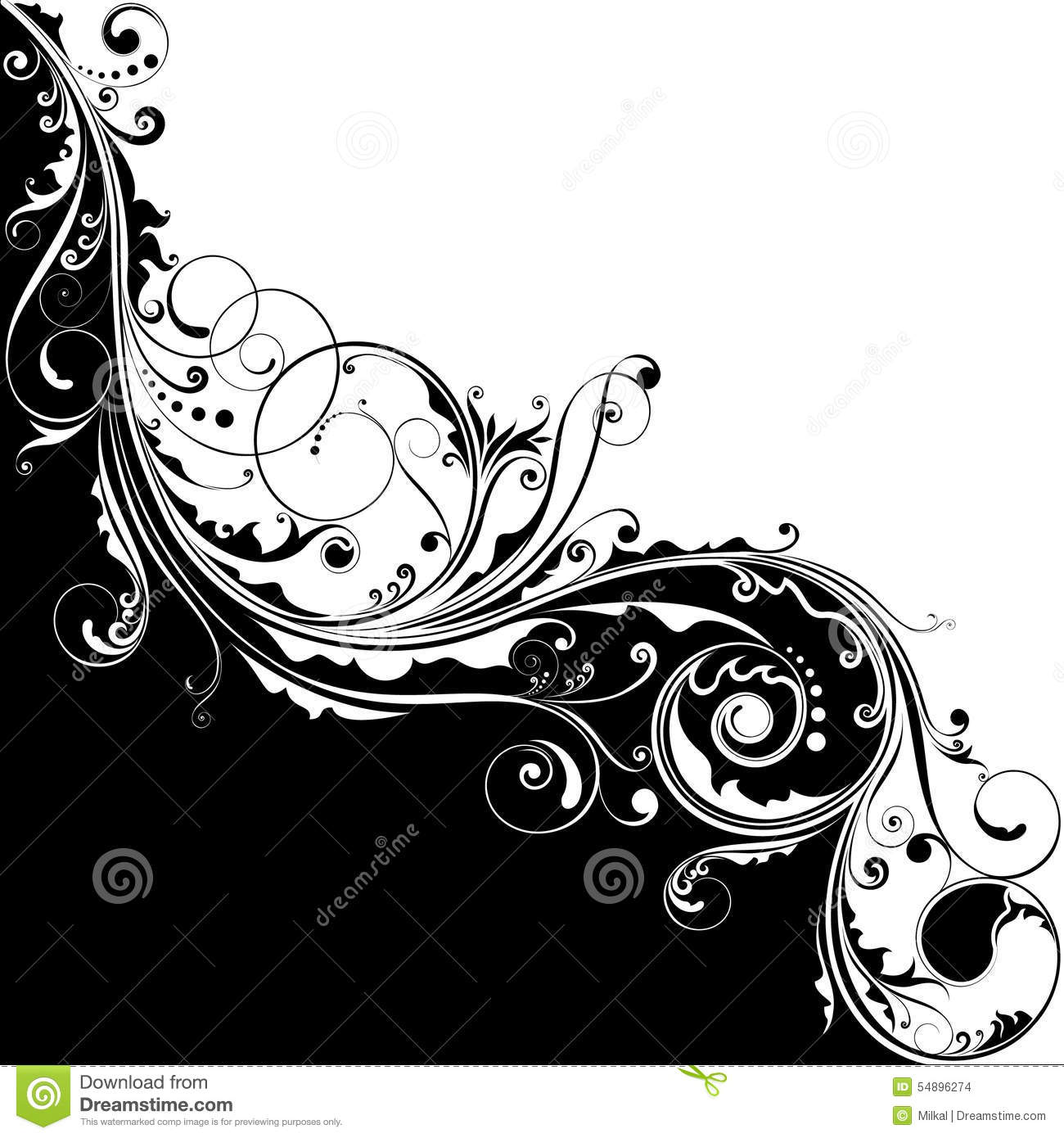 black and white flower design stock vector image 54896274