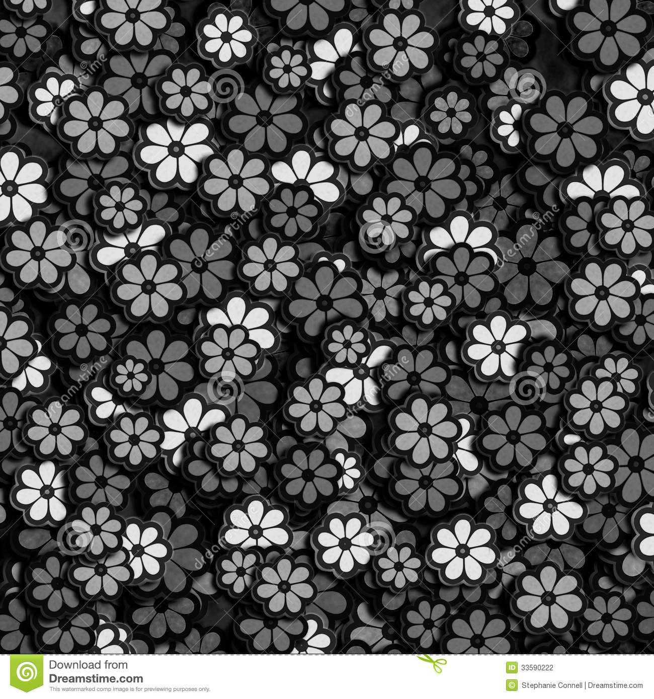 Black And White Flower Pattern Stock Photography - Image ...