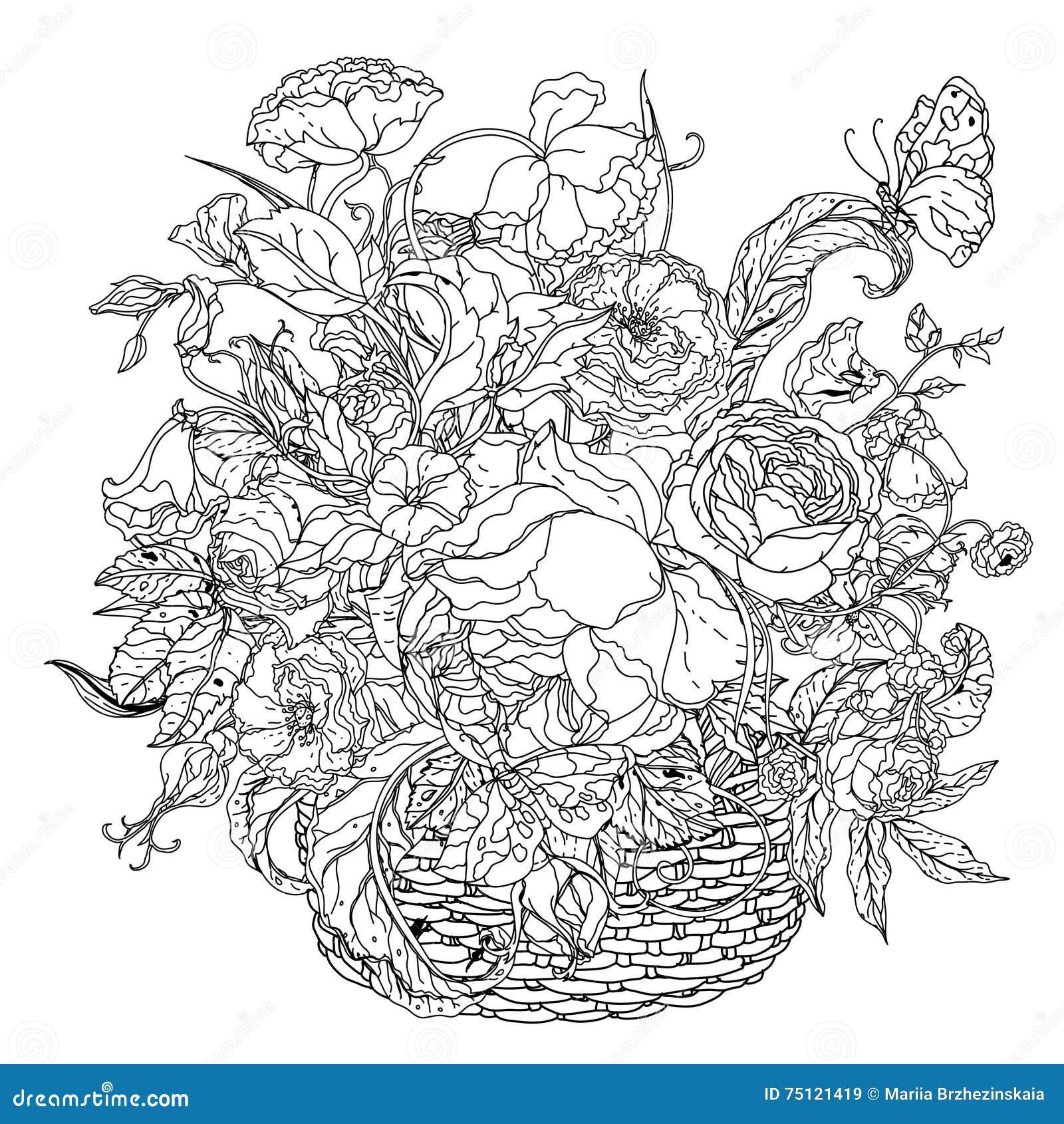 Black And White Flower Roses Stock Vector