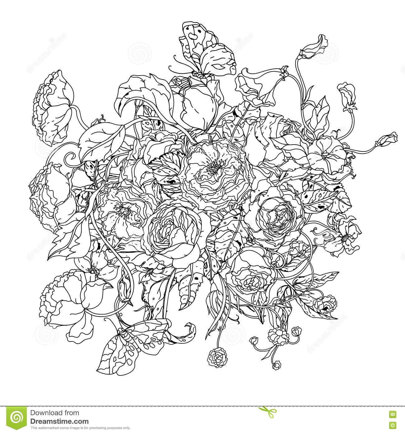 Rose Clock Coloring Pages