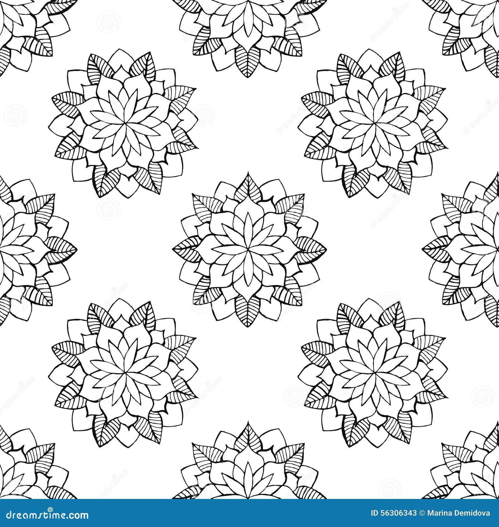 Black Flower Pattern Silhouette Stock Illustration: Black And White Flower Seamless Background. Vector