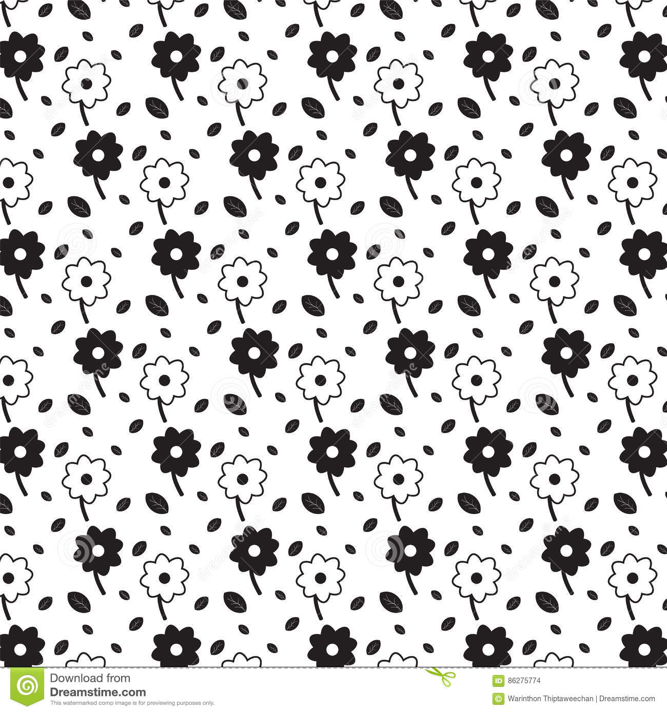 Black And White Flowers With Black Leaves Pattern Background Stock