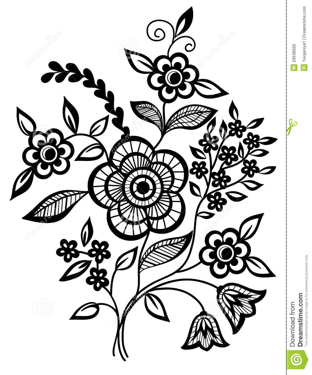 Black Flower Pattern Stock Images: Black-and-white Flowers And Leaves Design Element Stock