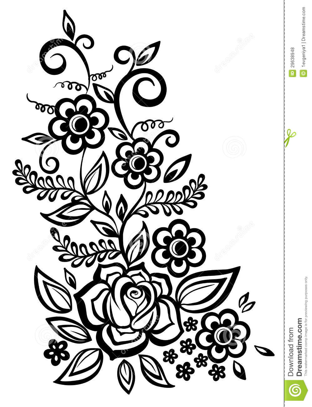 Black And White Flowers And Leaves Design Element Stock Vector