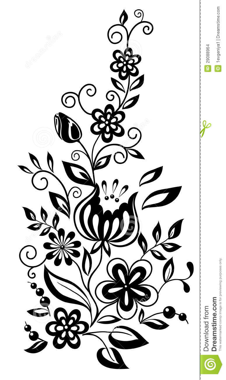 Black And White Flowers And Leaves Floral Design Illustration