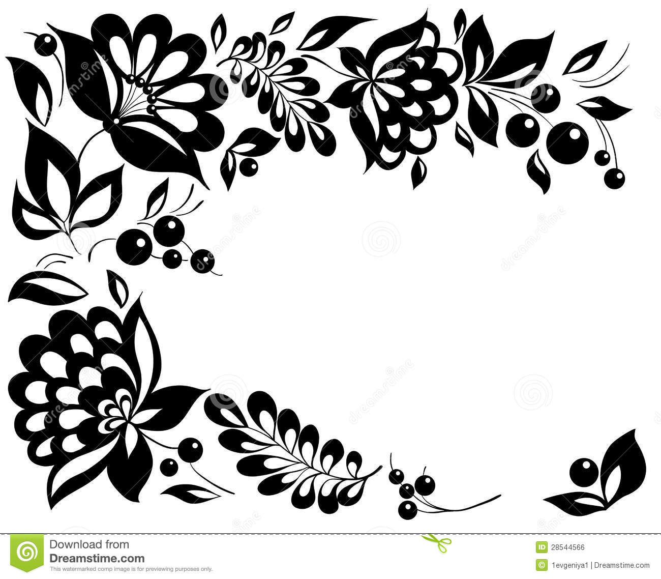 Black And White Flowers And Leaves. Floral Design Element ...