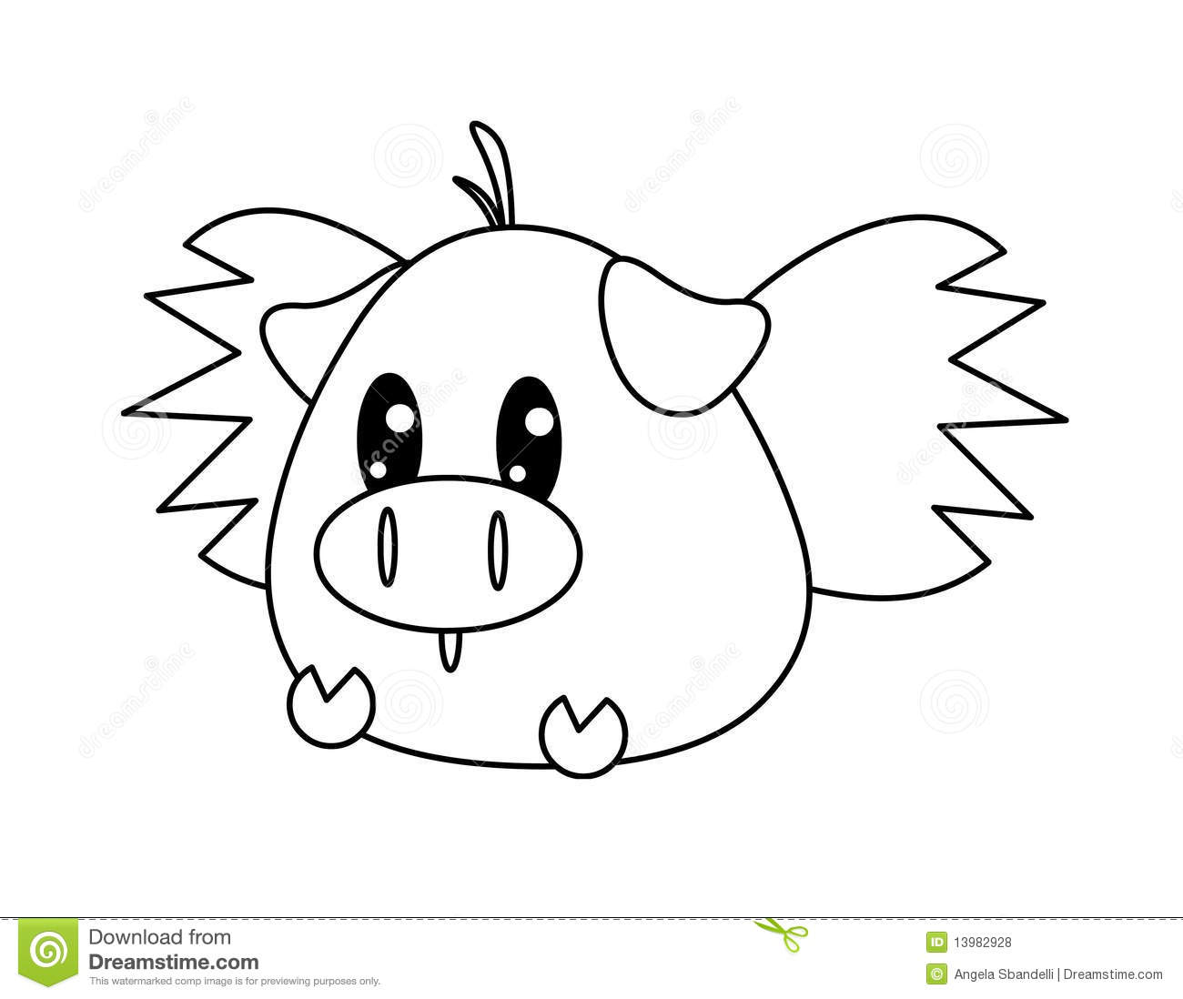 Pig With Wings Drawing