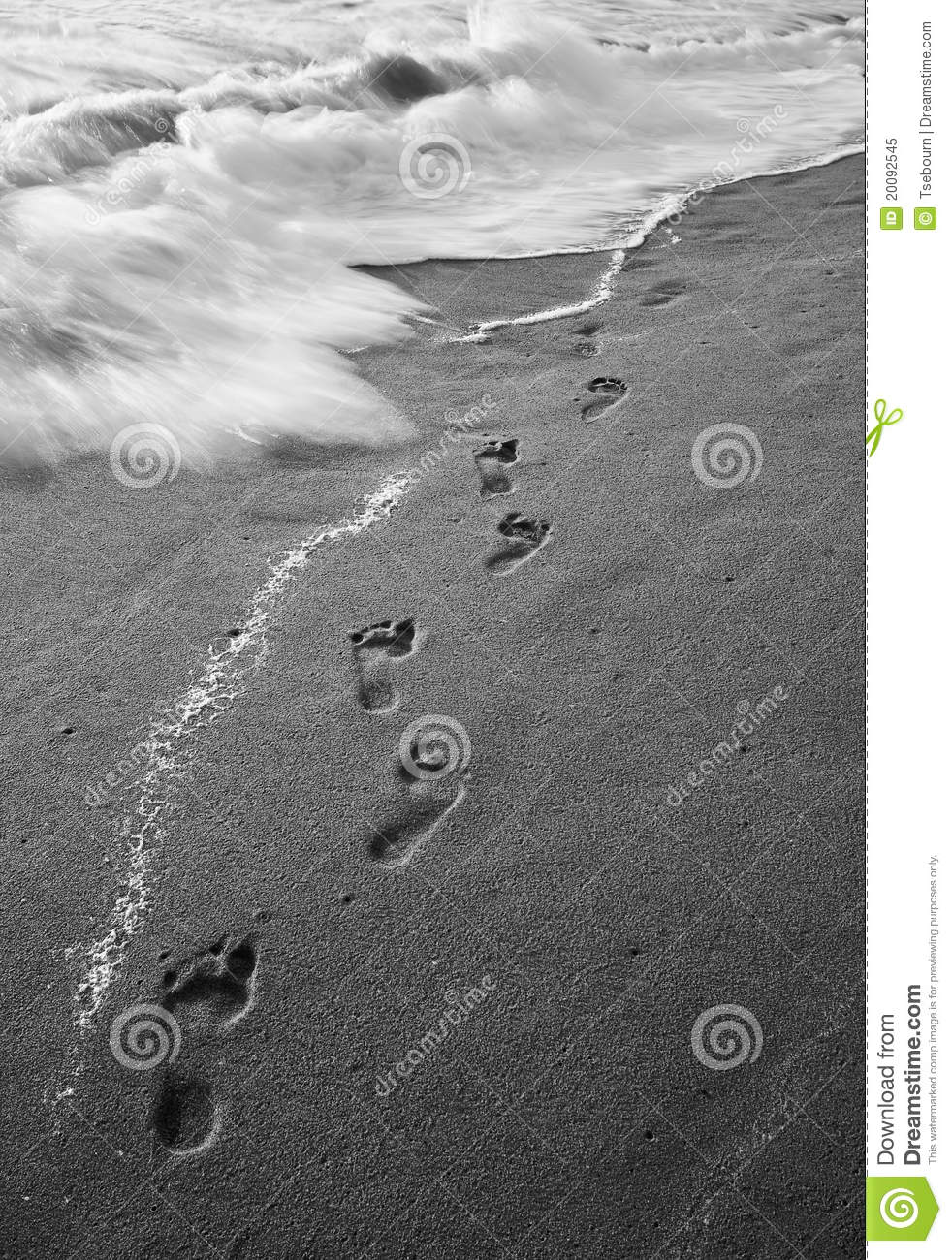 Black And White Foot Prints In The Sand Stock Image ...