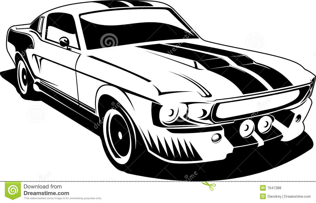 Black And White Ford Mustang Stock Vector Illustration Of
