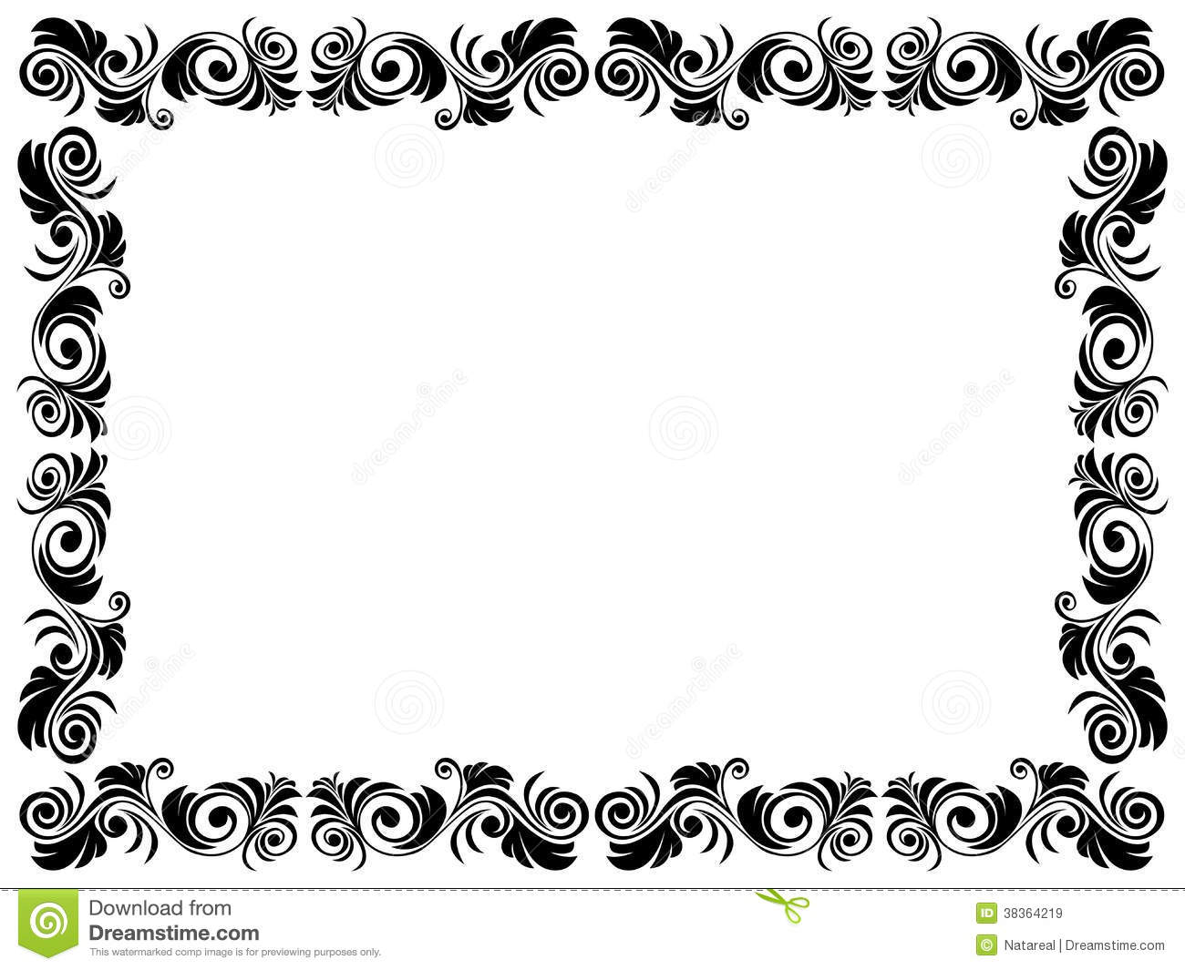 Black and white frame of blank with floral element stock vector illustration of black - Cadre photo dessin ...