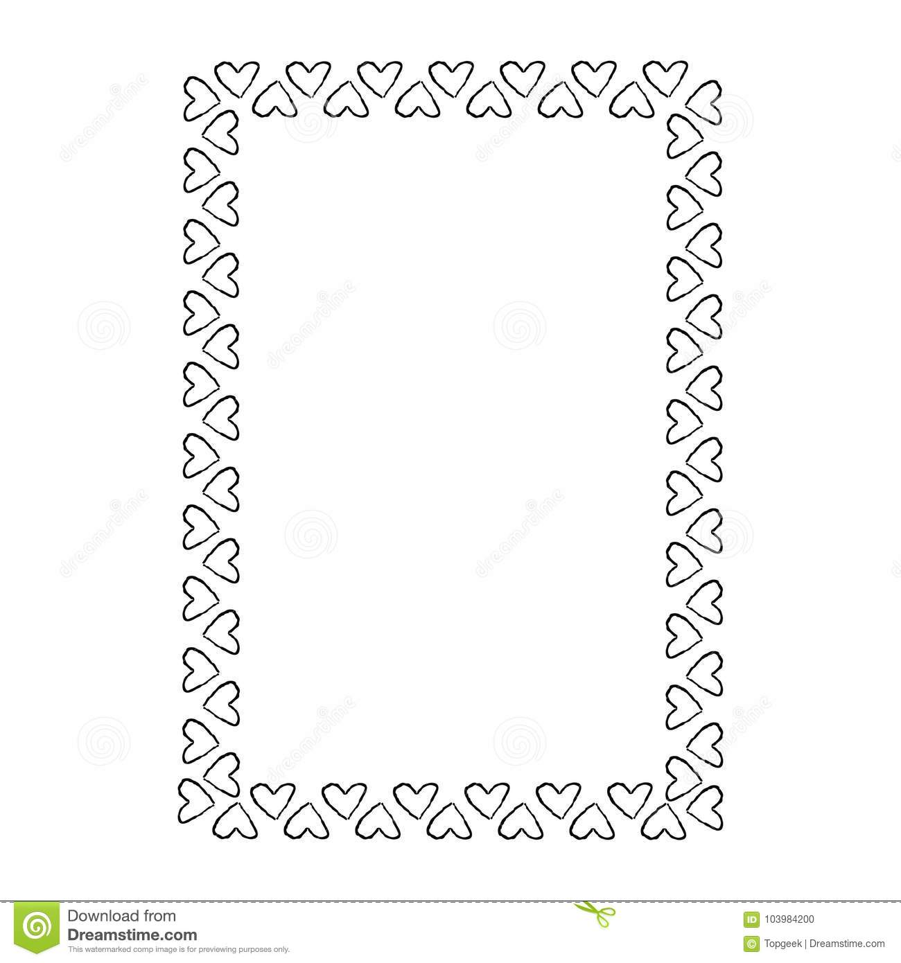 Black And White Frame Composed Of Small Hearts Stock Vector ...