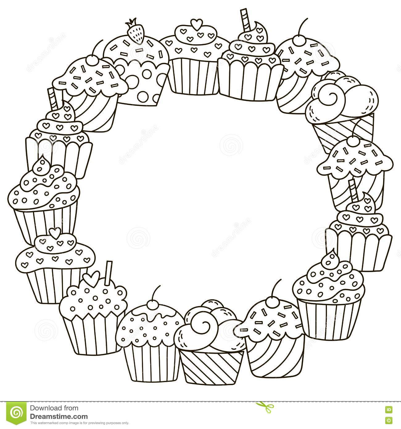 Black And White Frame With Cute Cupcakes For Coloring Book Stock ...